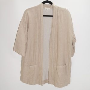 Eileen Fisher Beige Linen Cotton Jacket
